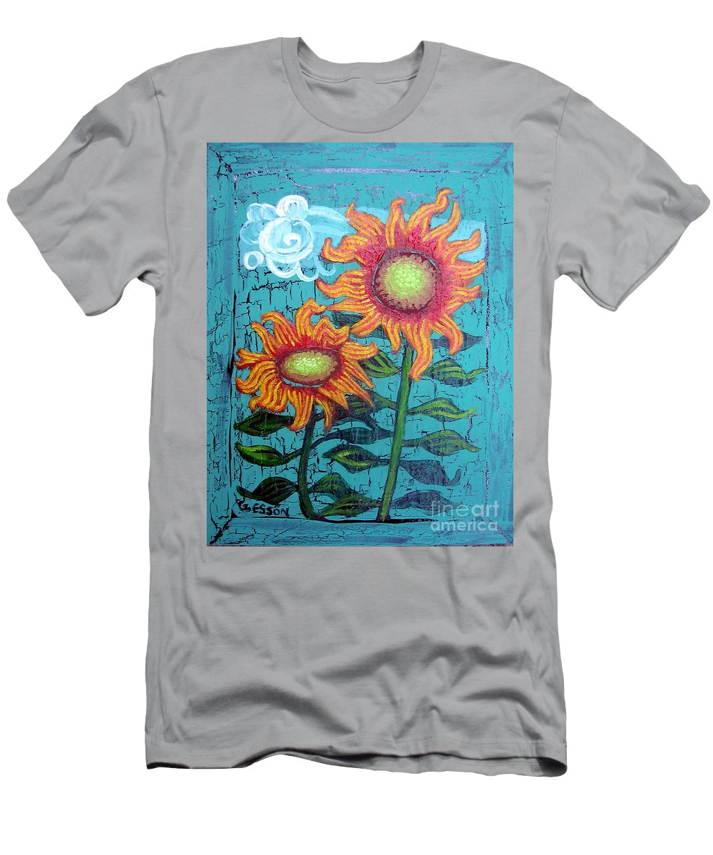 Sunflower Men's T-Shirt (Athletic Fit) featuring the painting Two Orange Sunflowers by Genevieve Esson