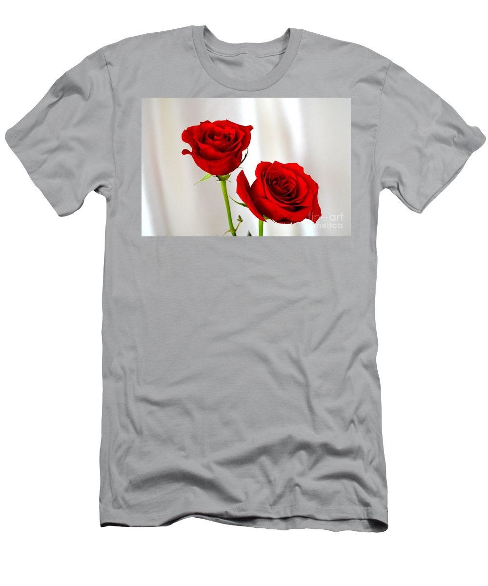 Red Rose Men's T-Shirt (Athletic Fit) featuring the photograph Two Roses by Mary Deal