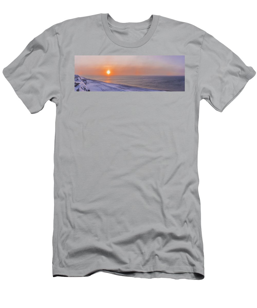 Arctic Men's T-Shirt (Athletic Fit) featuring the photograph Two Sundogs Hang In The Air Over The by Kevin Smith