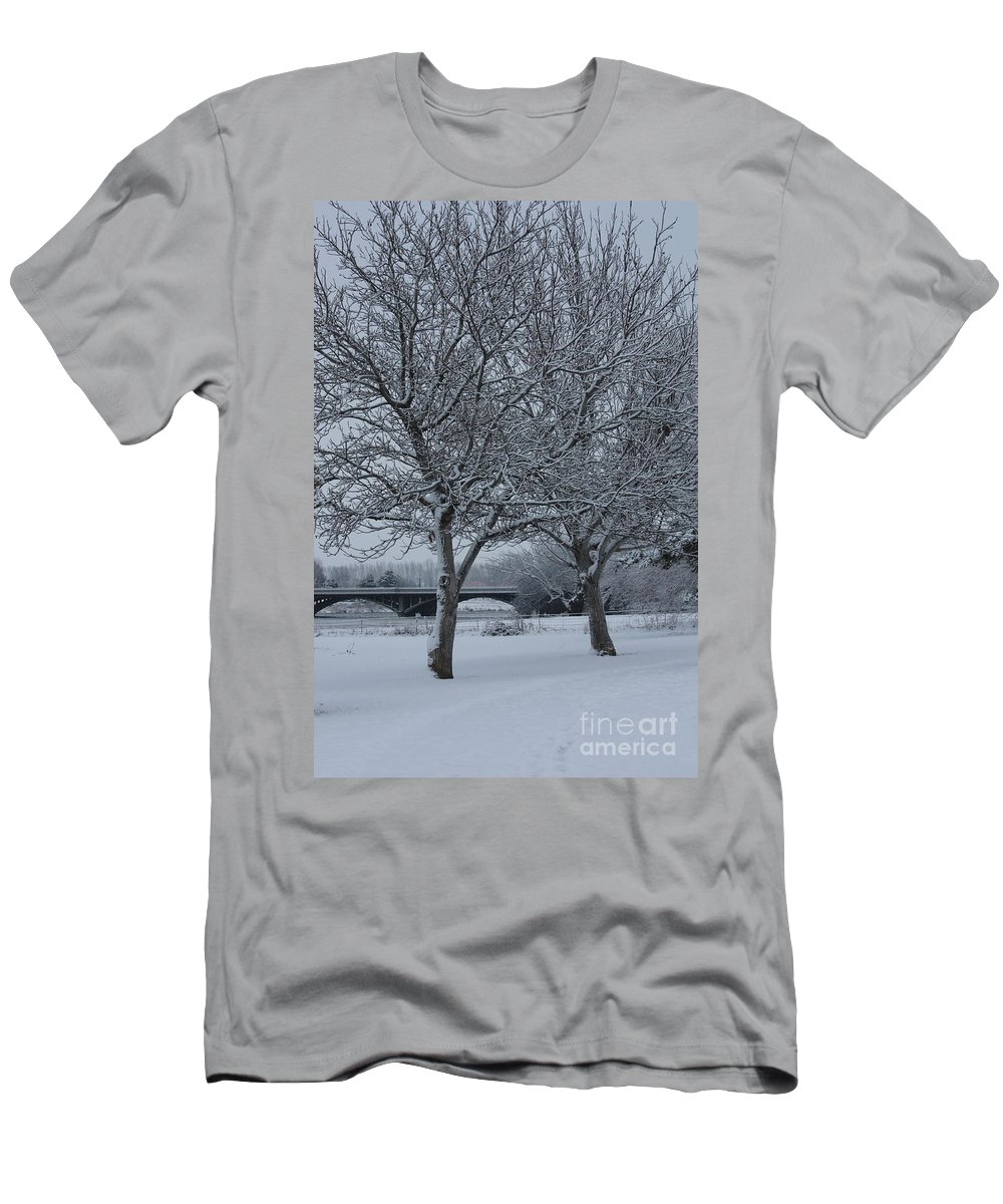Winter Men's T-Shirt (Athletic Fit) featuring the photograph Two Winter Trees by Carol Groenen