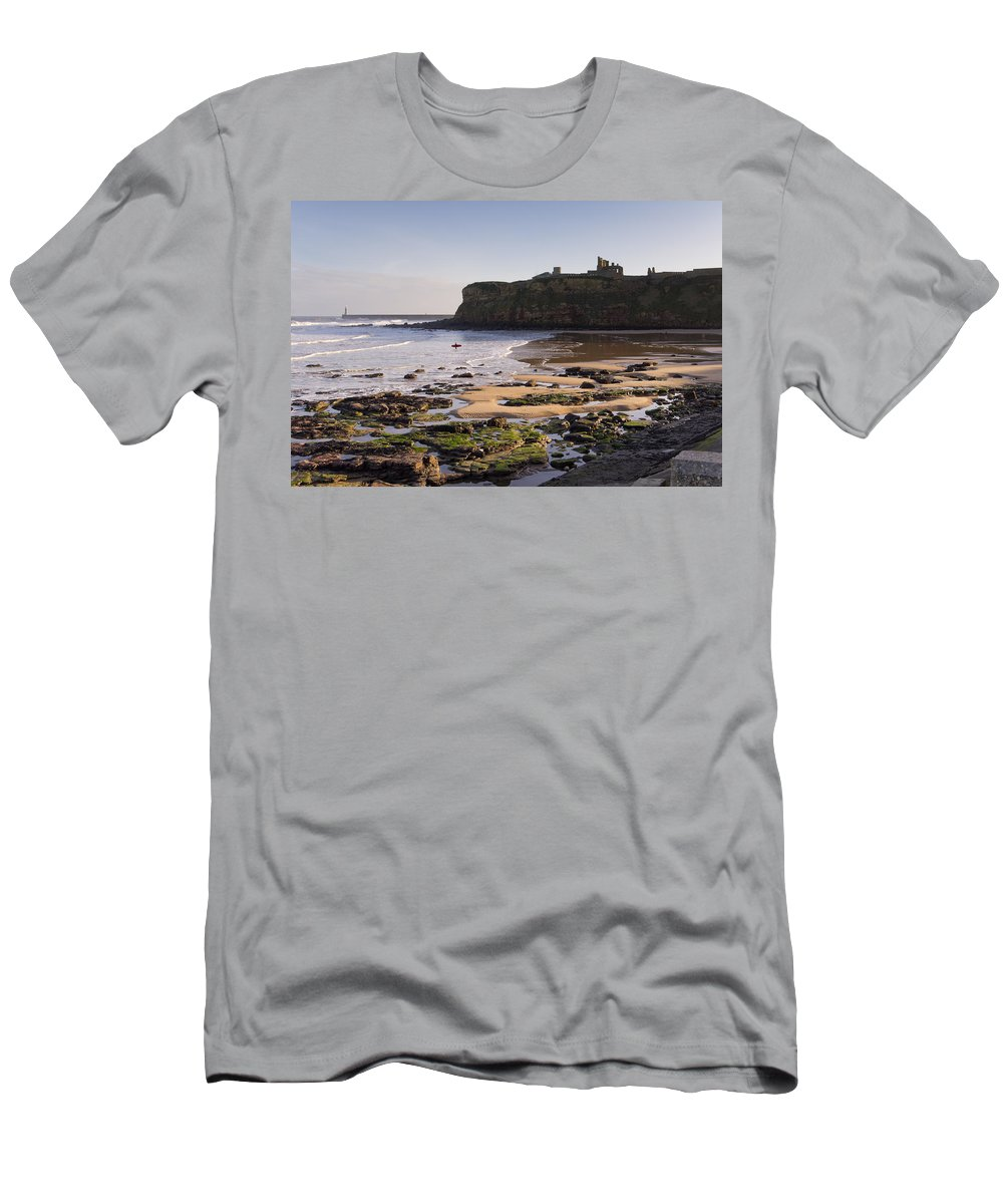 Ancient Men's T-Shirt (Athletic Fit) featuring the photograph Tynemouth Priory And Castle Across King Edwards Bay by David Head