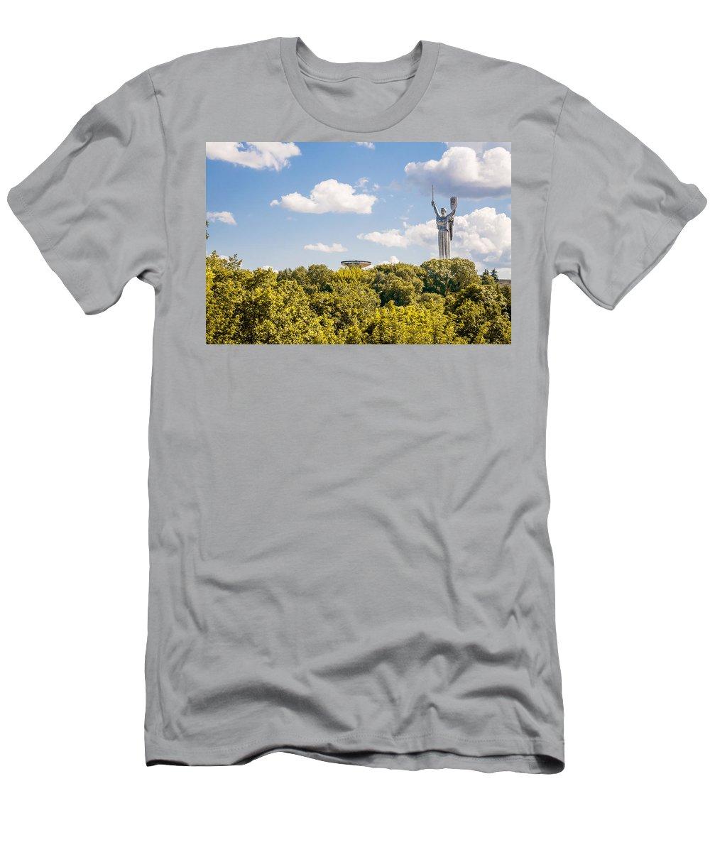 Kiev Men's T-Shirt (Athletic Fit) featuring the photograph Ukraine Motherland Statue by Alain De Maximy