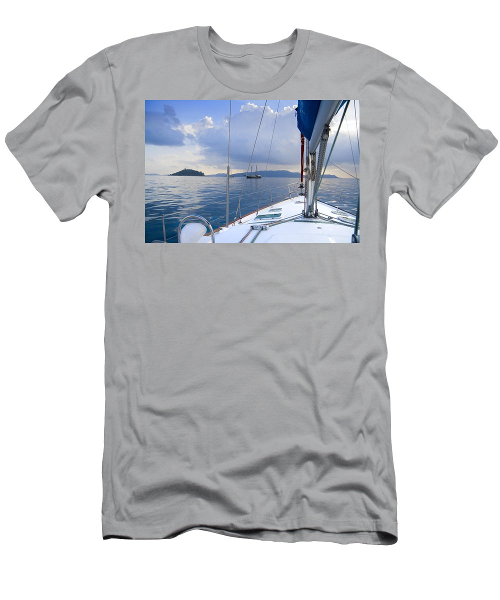 Sailing Men's T-Shirt (Athletic Fit) featuring the photograph Under Way by Alexey Stiop
