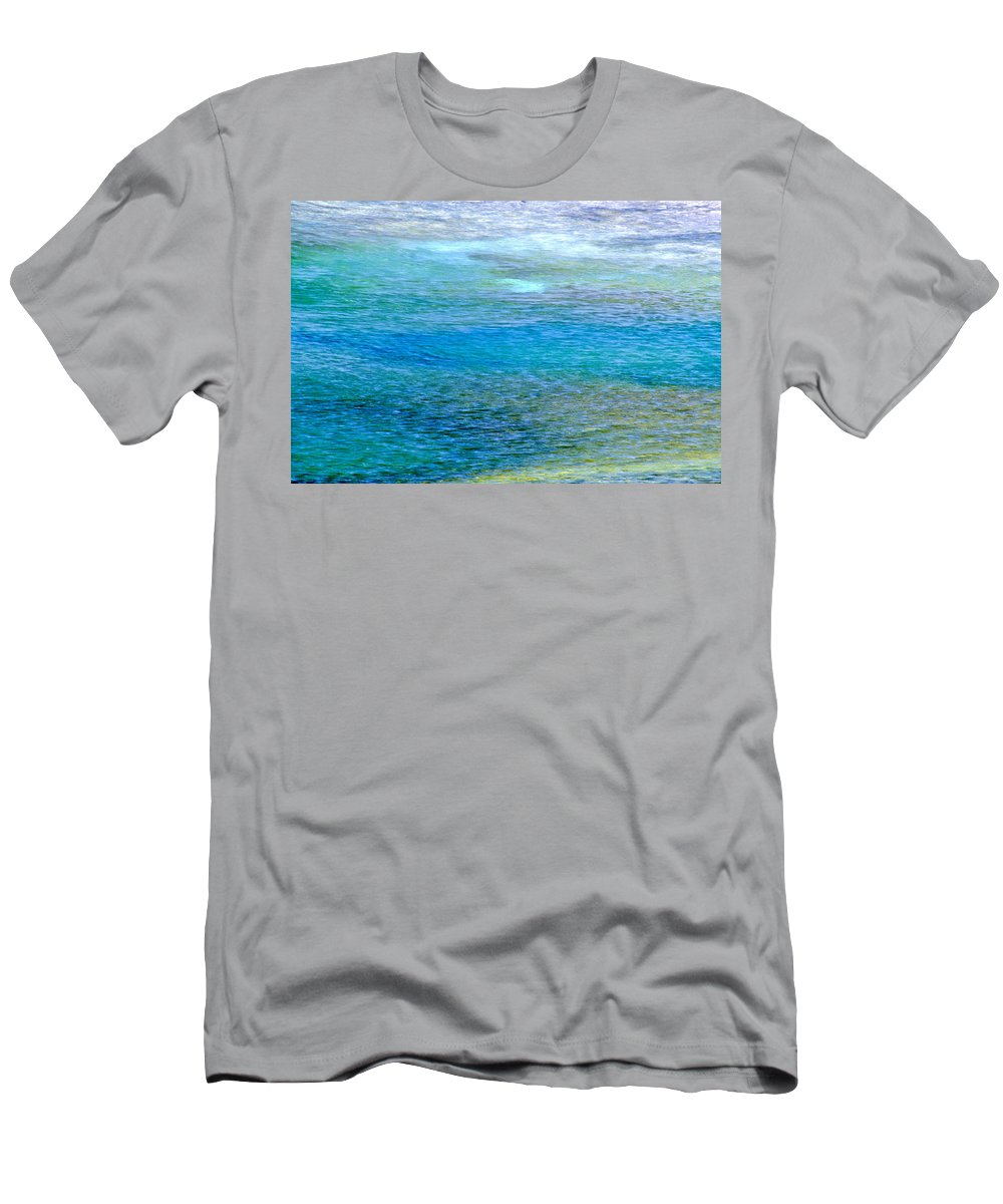 Yellowstone National Park Men's T-Shirt (Athletic Fit) featuring the photograph Underwater Colors by Sharon M Connolly