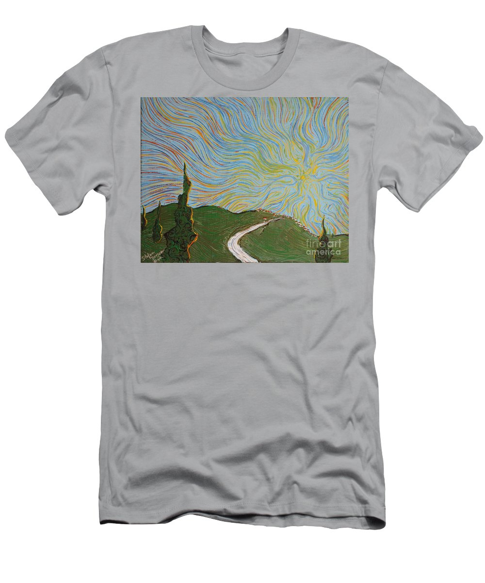 Impressionism Men's T-Shirt (Athletic Fit) featuring the painting Unfinished Day by Stefan Duncan