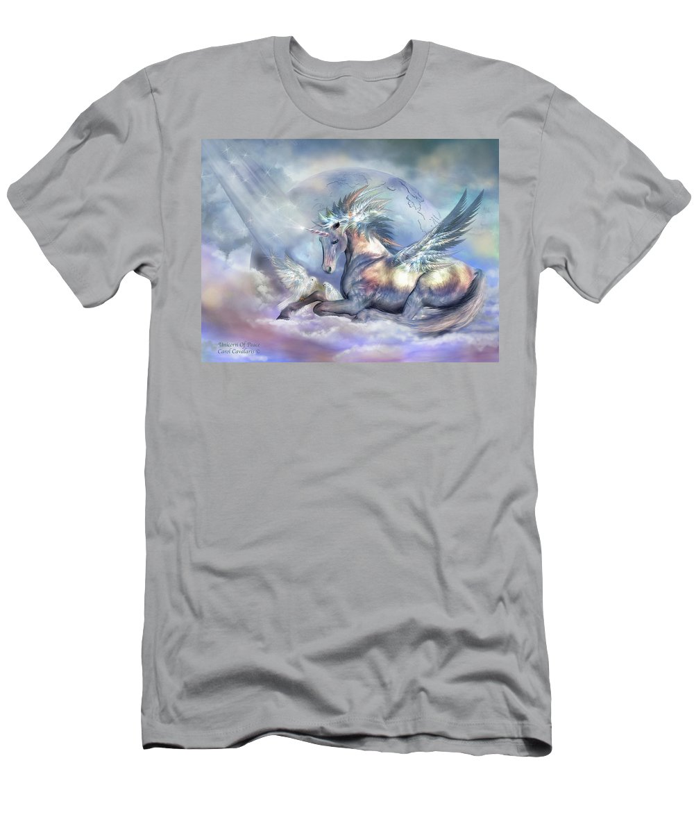 Unicorn Men's T-Shirt (Athletic Fit) featuring the mixed media Unicorn Of Peace by Carol Cavalaris