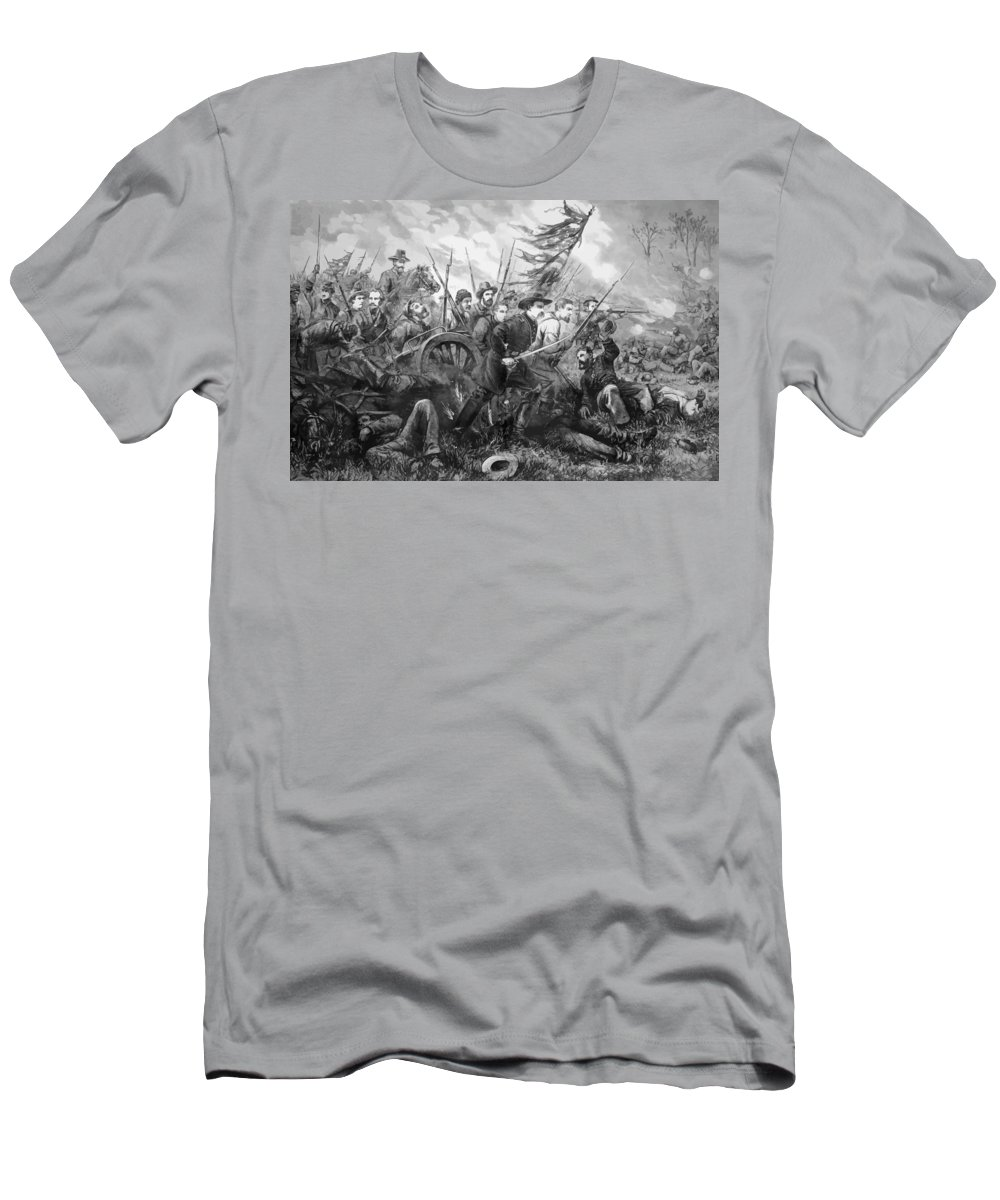 Gettysburg Men's T-Shirt (Athletic Fit) featuring the painting Union Charge At The Battle Of Gettysburg by War Is Hell Store