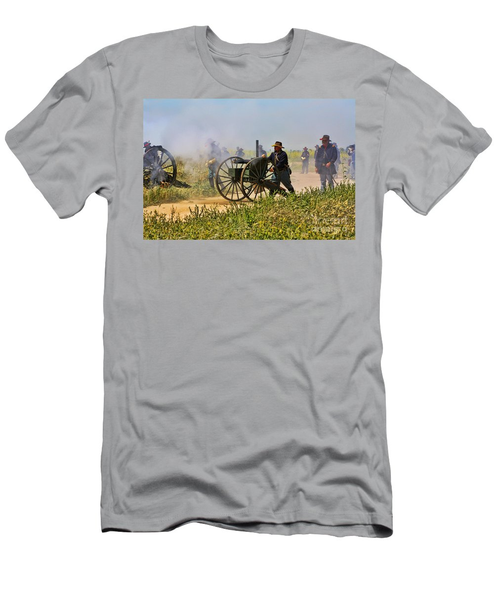 Union Men's T-Shirt (Athletic Fit) featuring the photograph Union Gattling Gun by Tommy Anderson