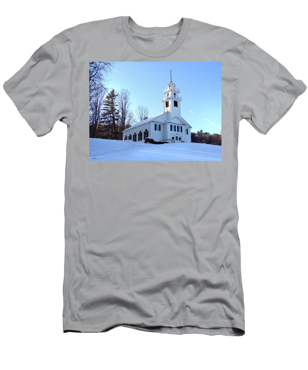 Church Men's T-Shirt (Athletic Fit) featuring the photograph Union Meeting House In West Newbury Vermont by Nancy Griswold