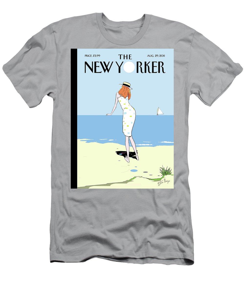 Beach T-Shirt featuring the painting On the Horizon by Istvan Banyai