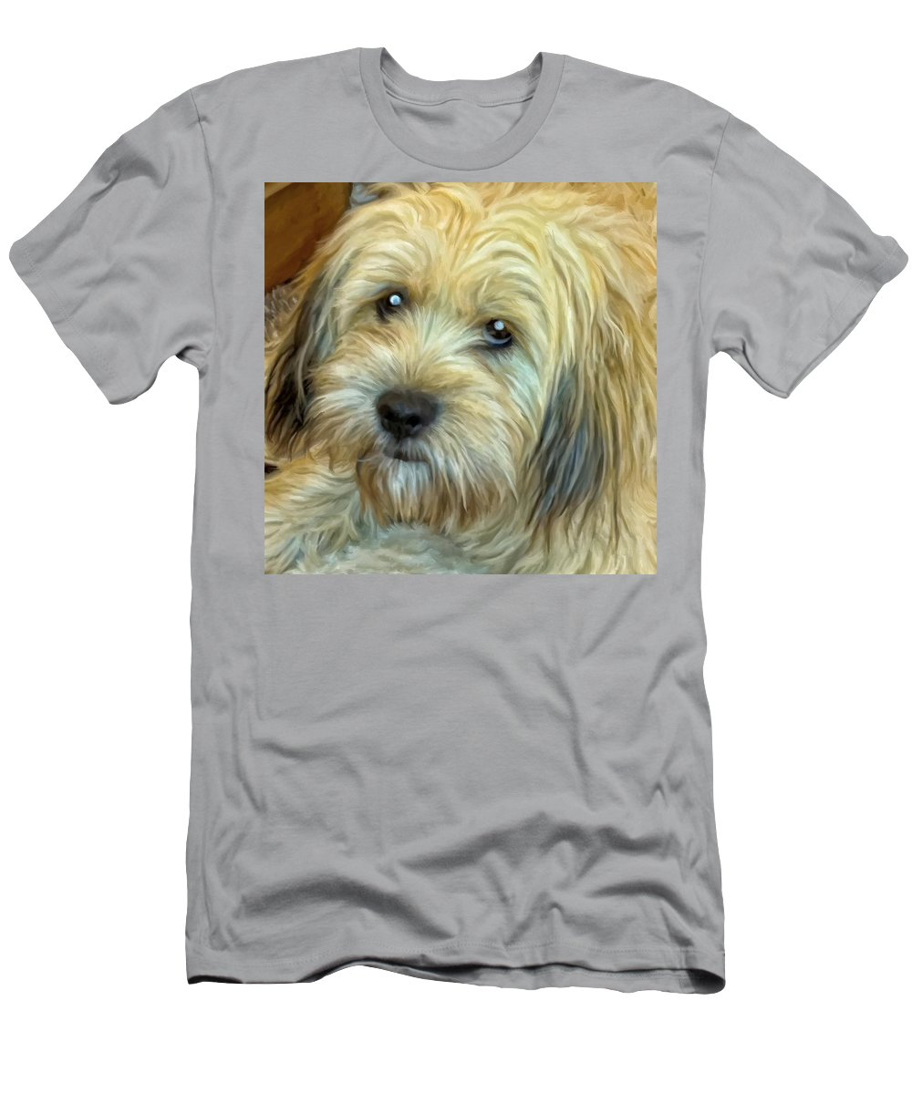 Rescue Dog Men's T-Shirt (Athletic Fit) featuring the painting Chewy by Michael Pickett
