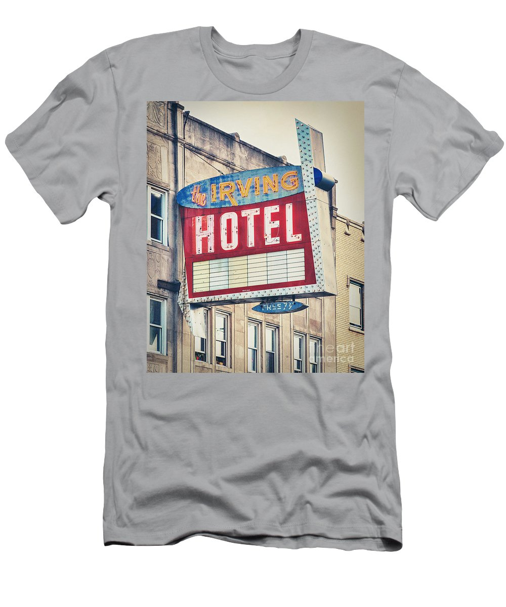 Irving Hotel Men's T-Shirt (Athletic Fit) featuring the photograph Chicago's Irving Hotel by Emily Kay