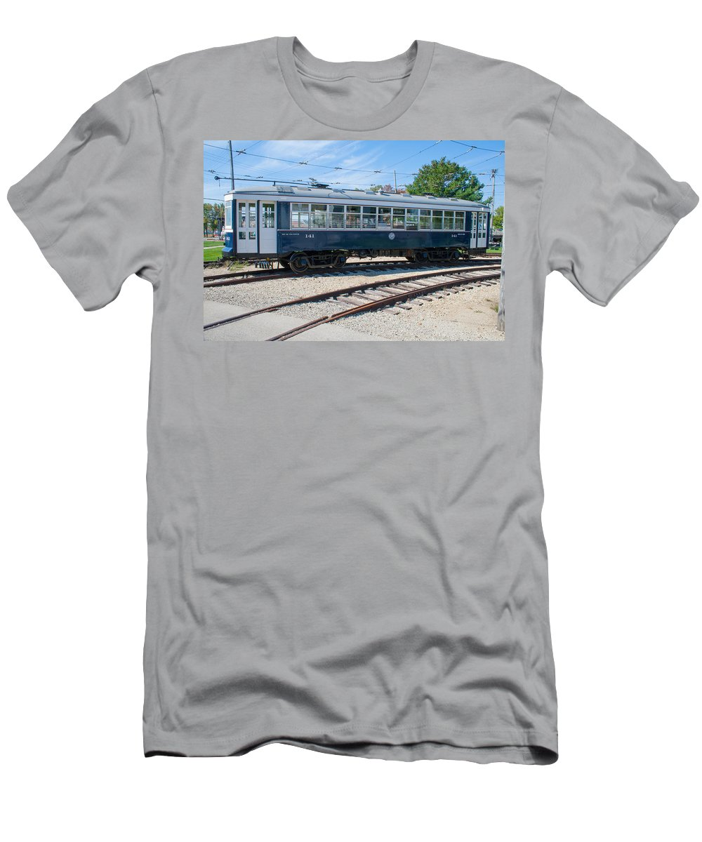 Trains Men's T-Shirt (Athletic Fit) featuring the photograph Urban Transportation by Robert Storost