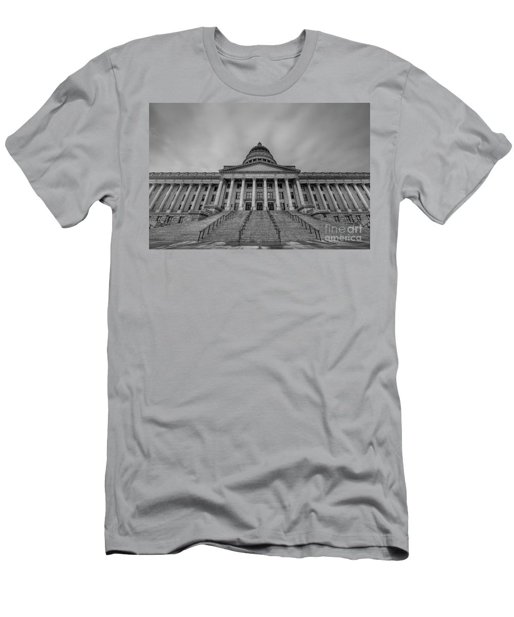 Hdr Men's T-Shirt (Athletic Fit) featuring the photograph Utah State Capitol Building Bw by Michael Ver Sprill