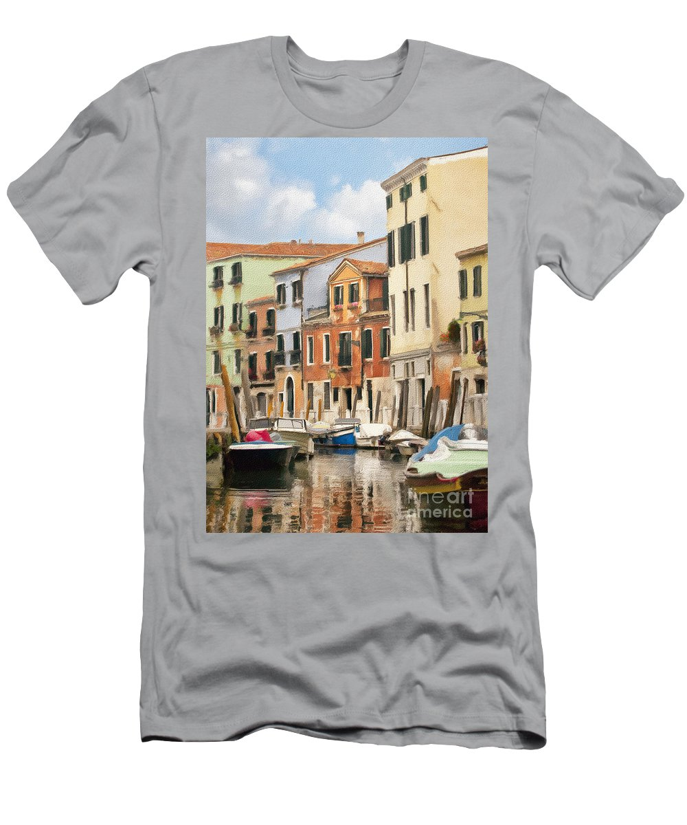 Venice Men's T-Shirt (Athletic Fit) featuring the photograph Venetian Apartments Impasto by Sharon Foster