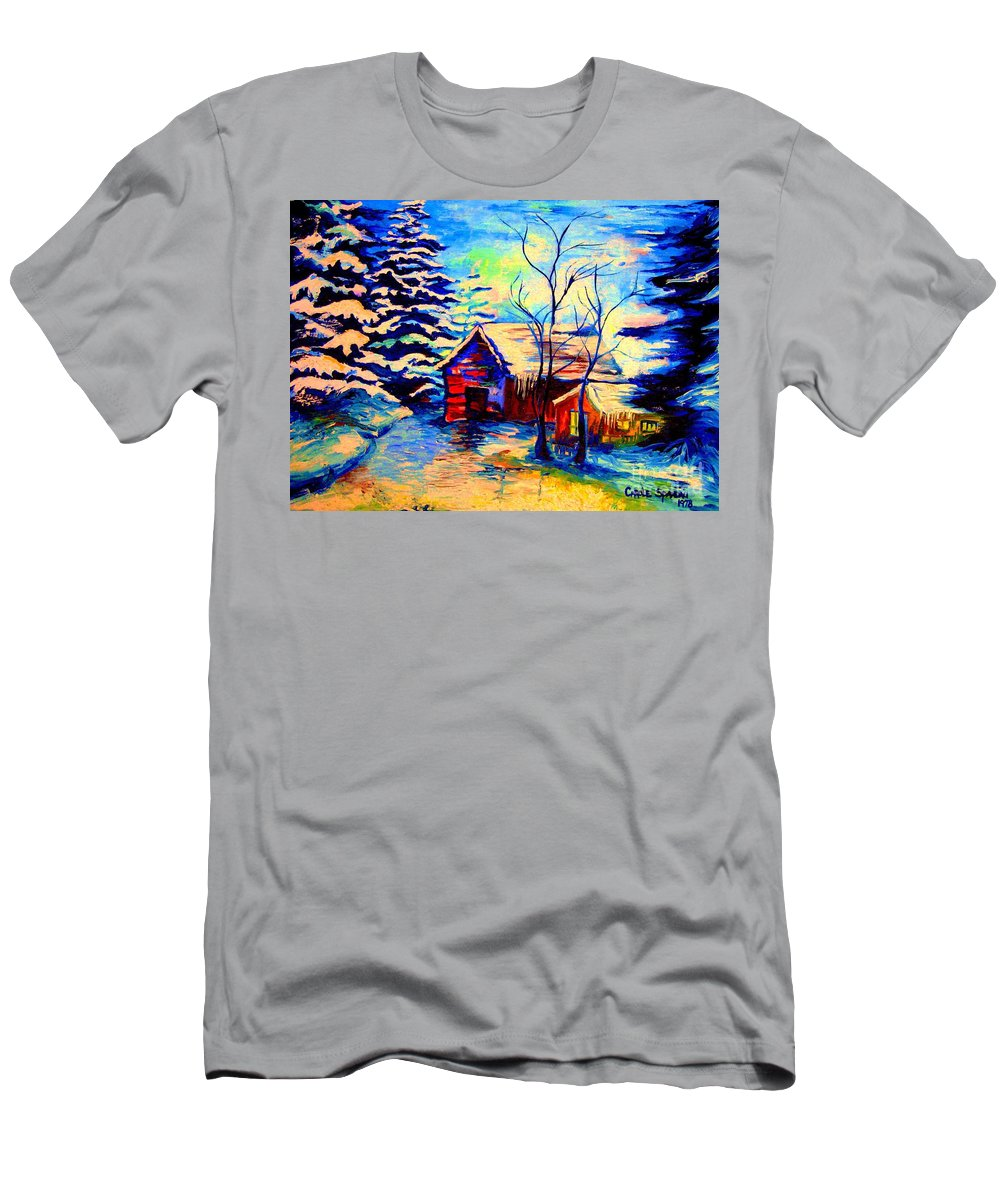 Vermont Winterscenes Men's T-Shirt (Athletic Fit) featuring the painting Vermont Winterscene In Blues By Montreal Streetscene Artist Carole Spandau by Carole Spandau