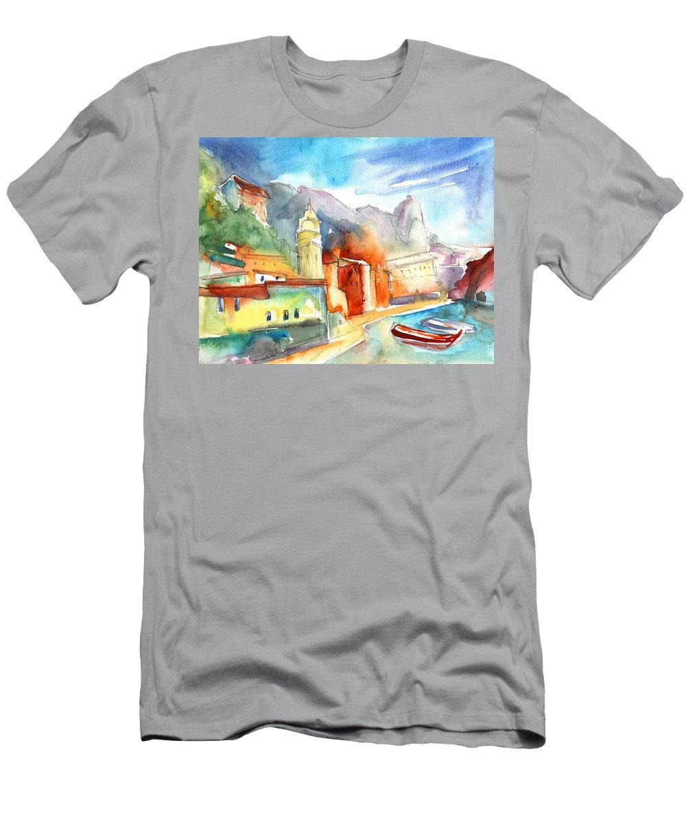 Italy Men's T-Shirt (Athletic Fit) featuring the painting Vernazza In Italy 07 by Miki De Goodaboom