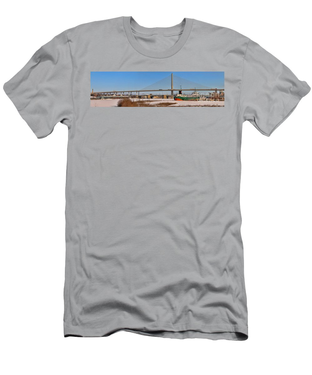 Toledo Ohio Men's T-Shirt (Athletic Fit) featuring the photograph Veterans Glass City Skyway Pano by Jack Schultz