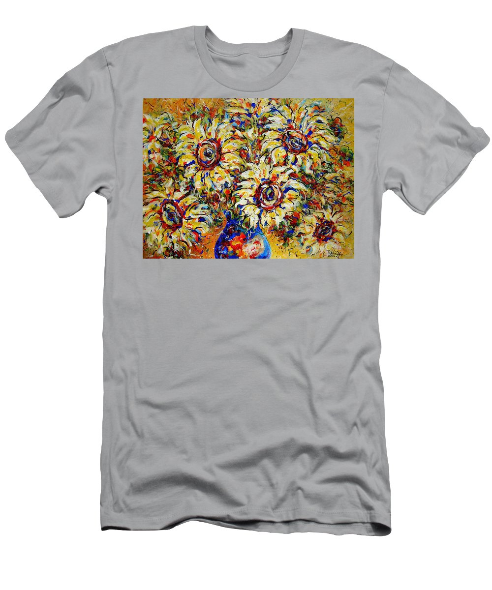 Flowers Men's T-Shirt (Athletic Fit) featuring the painting Vibrant Sunflower Essence by Natalie Holland