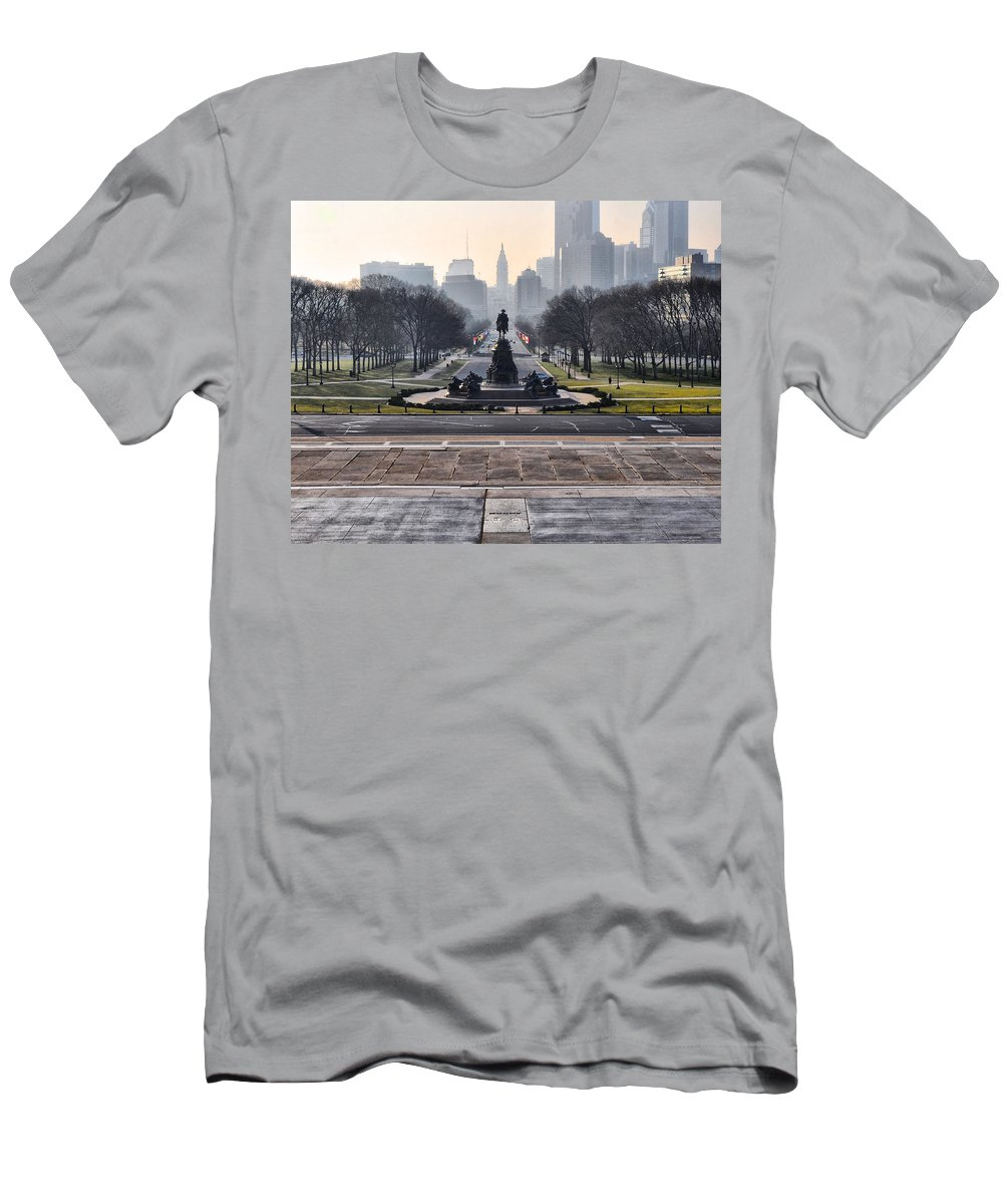View Men's T-Shirt (Athletic Fit) featuring the photograph View From Rocky's Footsteps by Bill Cannon