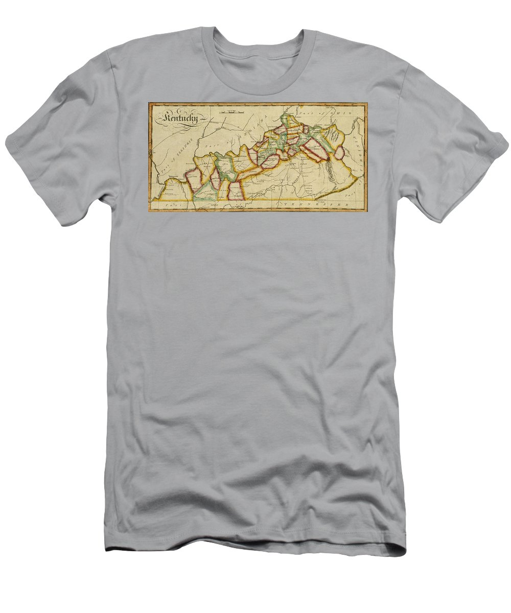 Kentucky Men's T-Shirt (Athletic Fit) featuring the photograph Map Of Kentucky 1812 by Andrew Fare