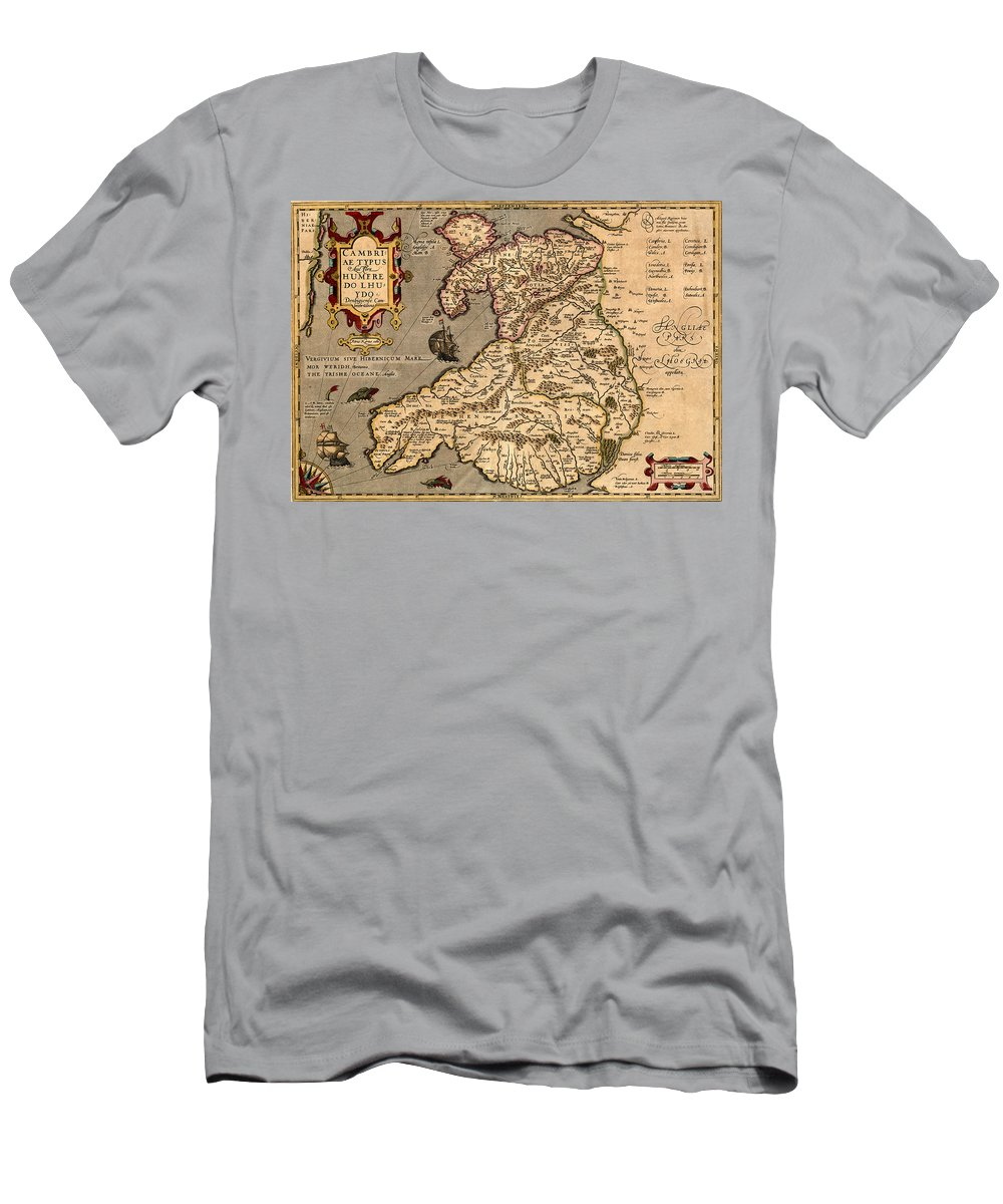 Wales Men's T-Shirt (Athletic Fit) featuring the photograph Vintage Map Of Wales 1633 by Andrew Fare