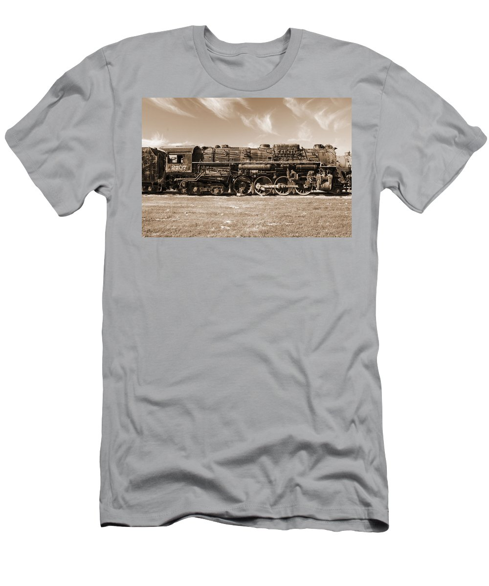Trains Men's T-Shirt (Athletic Fit) featuring the photograph Vintage Steam Locomotive by Robert Storost