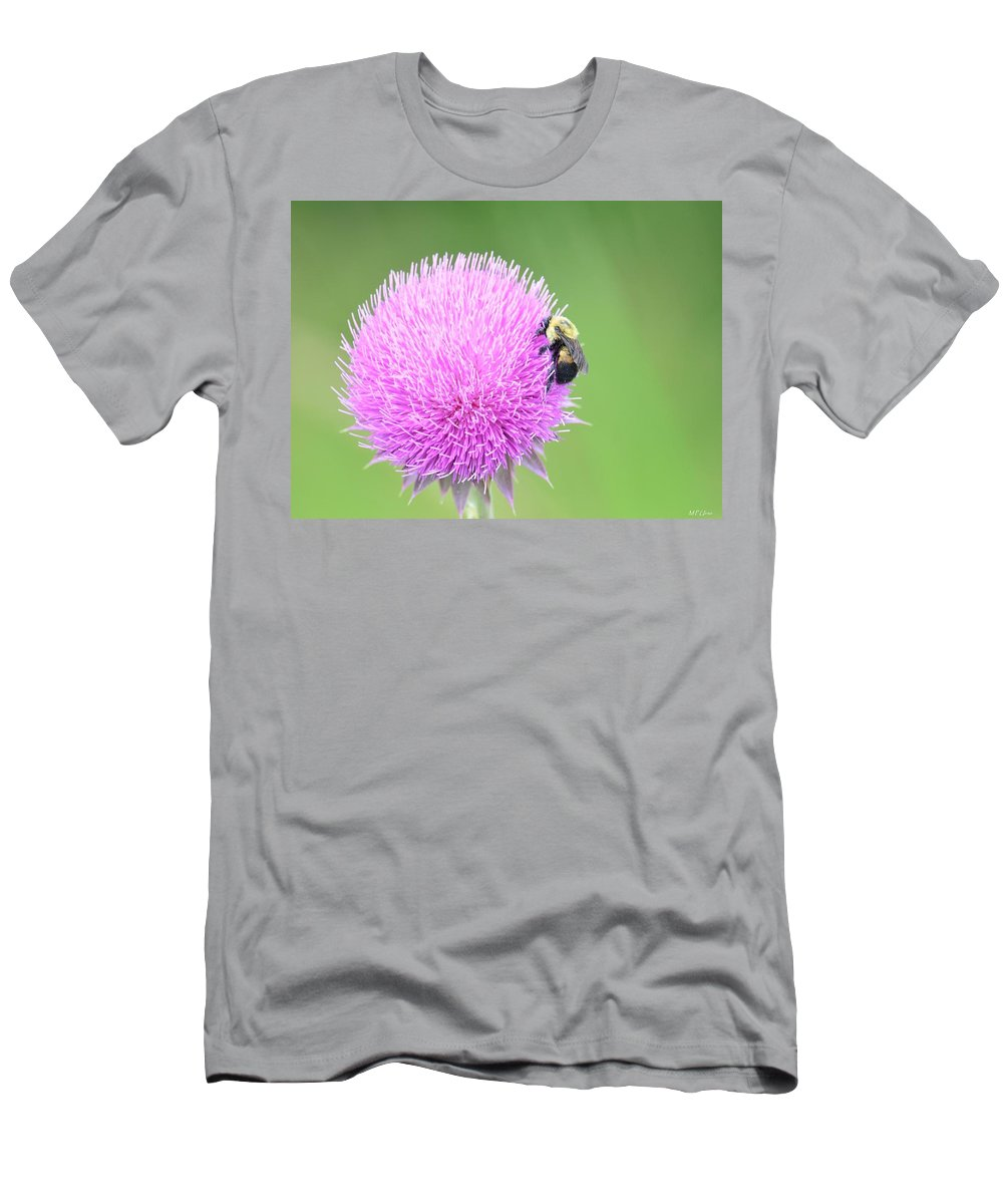 Visitor On Thistle Men's T-Shirt (Athletic Fit) featuring the photograph Visitor On Thistle by Maria Urso