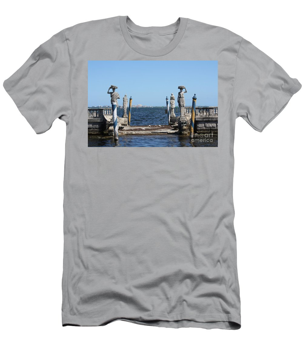 Florida Men's T-Shirt (Athletic Fit) featuring the photograph Vizcaya - The Pier by Dora Sofia Caputo Photographic Design and Fine Art