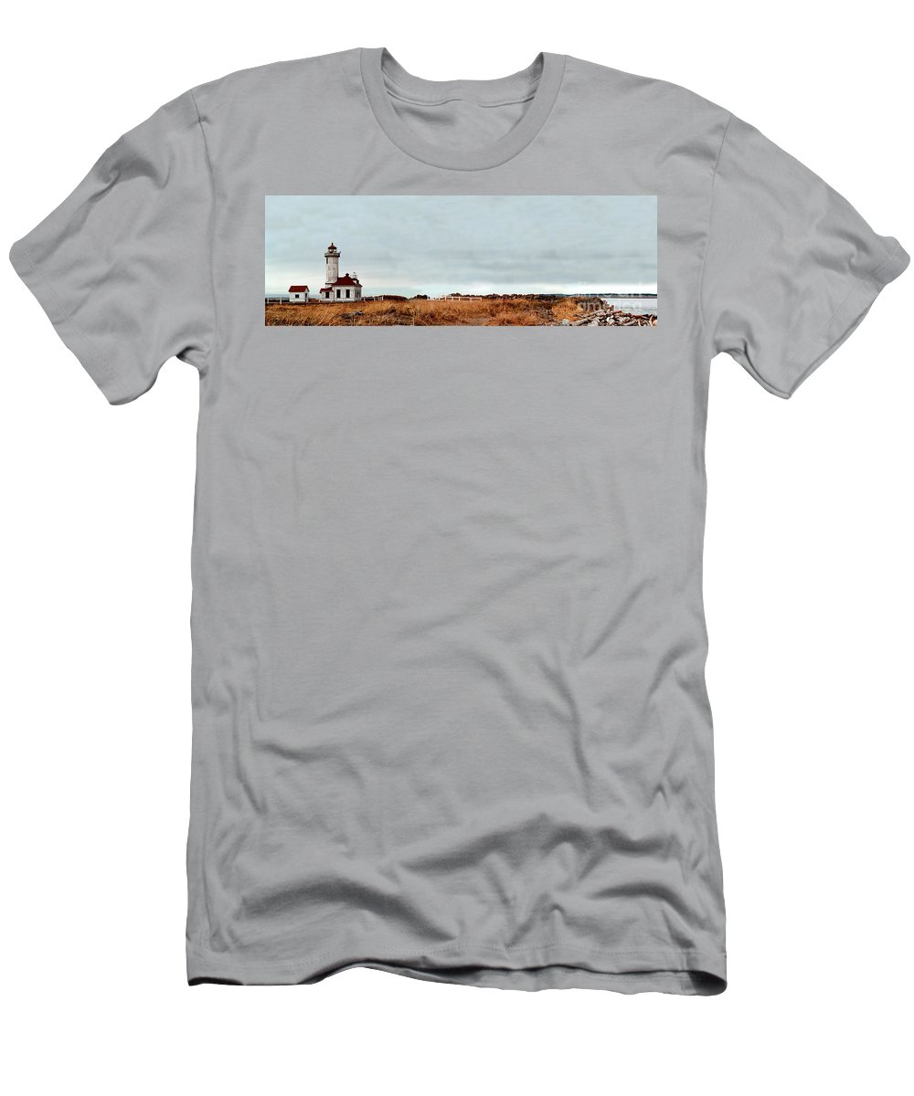 Men's T-Shirt (Athletic Fit) featuring the photograph Wa State Lighthouse by Mike Nellums