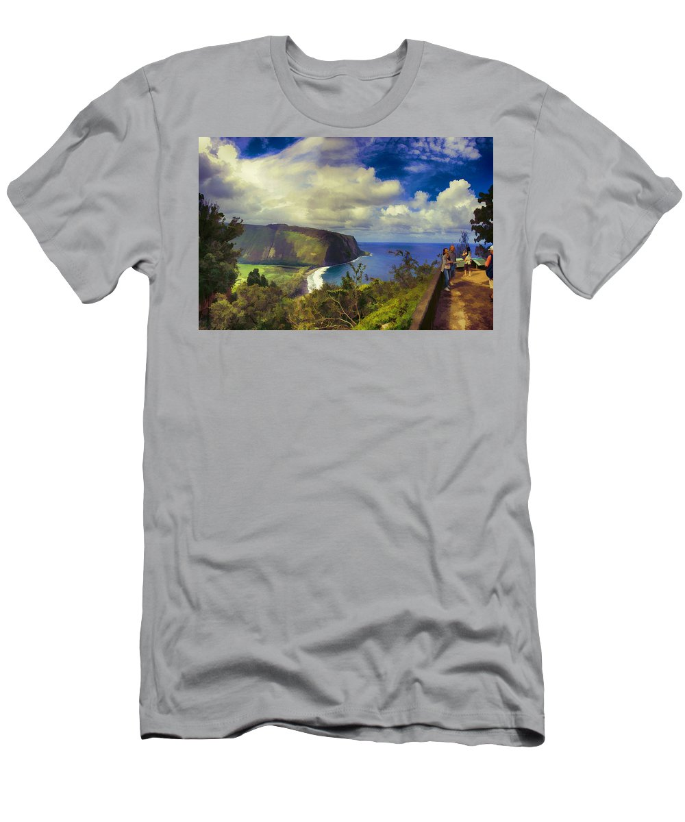 Waipo Valley Men's T-Shirt (Athletic Fit) featuring the photograph Waipo Valley Lookout-big Island Hawaii by Douglas Barnard