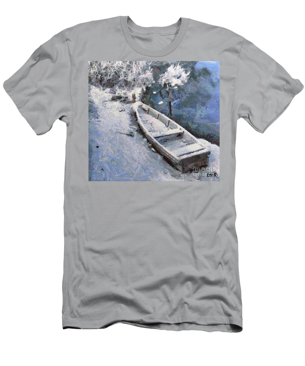 Boat Men's T-Shirt (Athletic Fit) featuring the painting Waiting For A Spring by Dragica Micki Fortuna