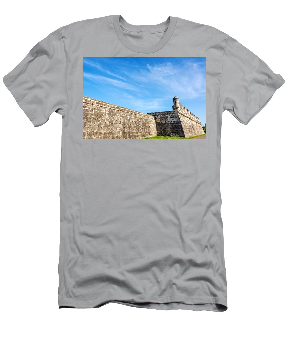 Cartagena Men's T-Shirt (Athletic Fit) featuring the photograph Wall Of Cartagena Colombia by Jess Kraft
