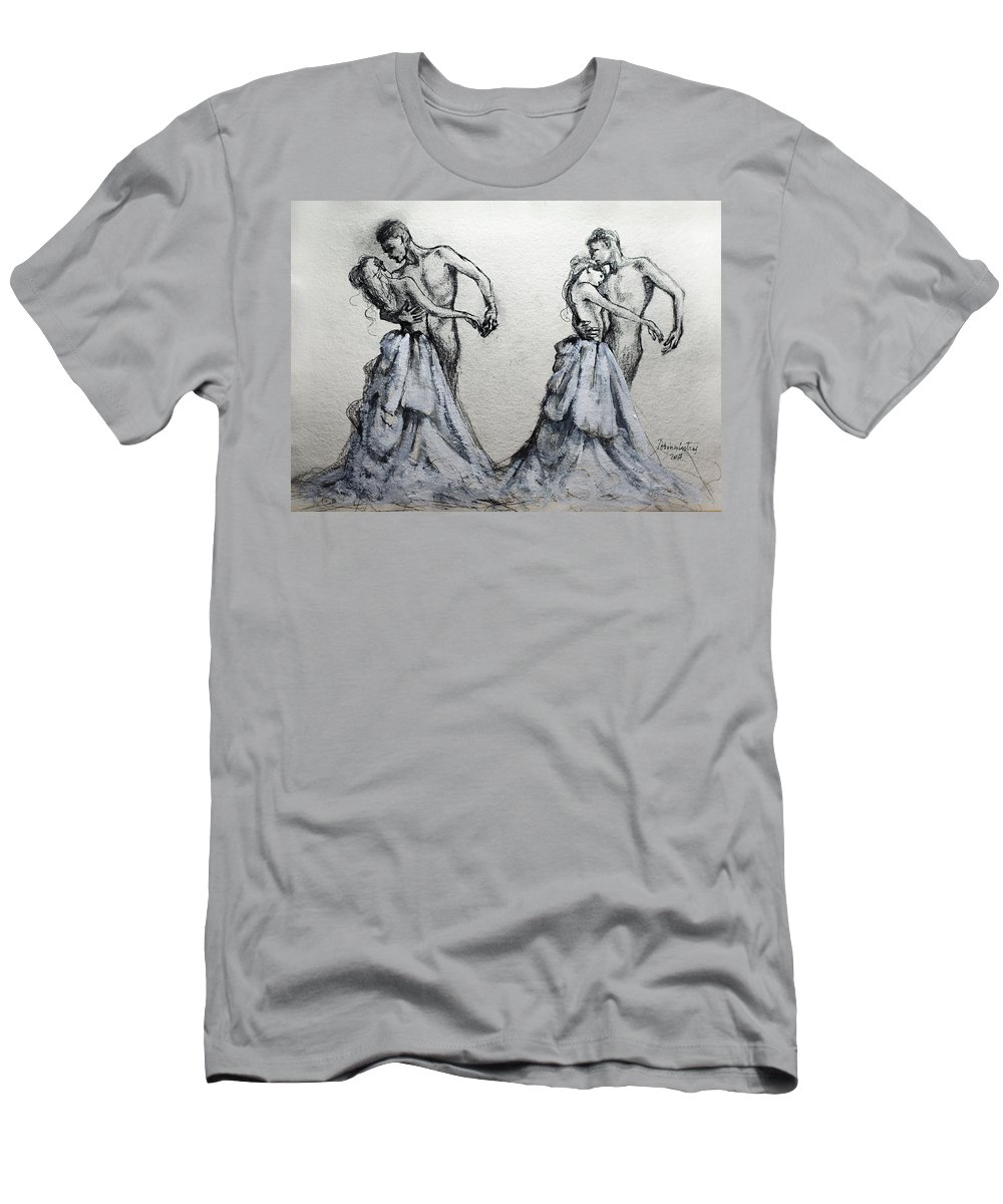 Waltz Men's T-Shirt (Athletic Fit) featuring the painting Waltzing With You by Dorina Costras