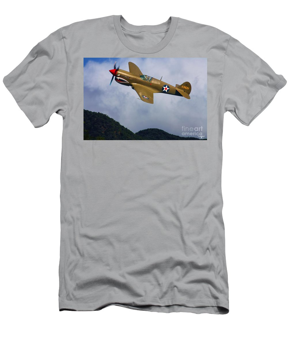 Curtiss Men's T-Shirt (Athletic Fit) featuring the digital art Warhawk Curtiss P-40 by Tommy Anderson