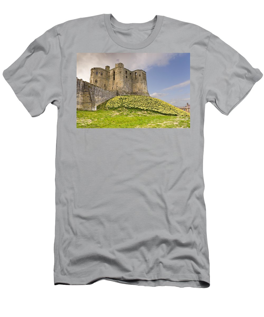 Northumberland Men's T-Shirt (Athletic Fit) featuring the photograph Warkworth Castle With Daffodils by David Head