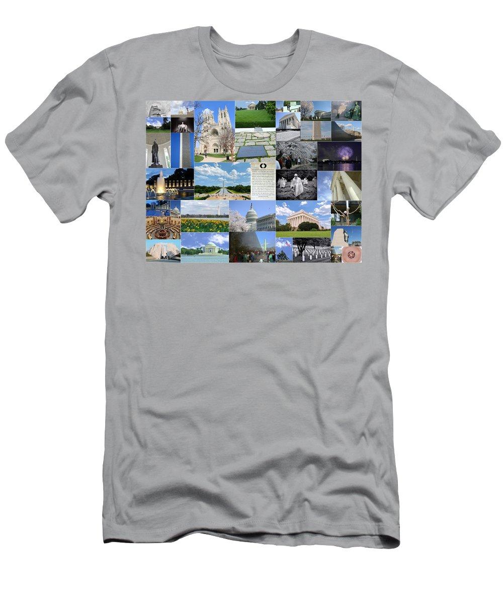 Capitol Building Men's T-Shirt (Athletic Fit) featuring the photograph Washington D. C. Collage 2 by Allen Beatty
