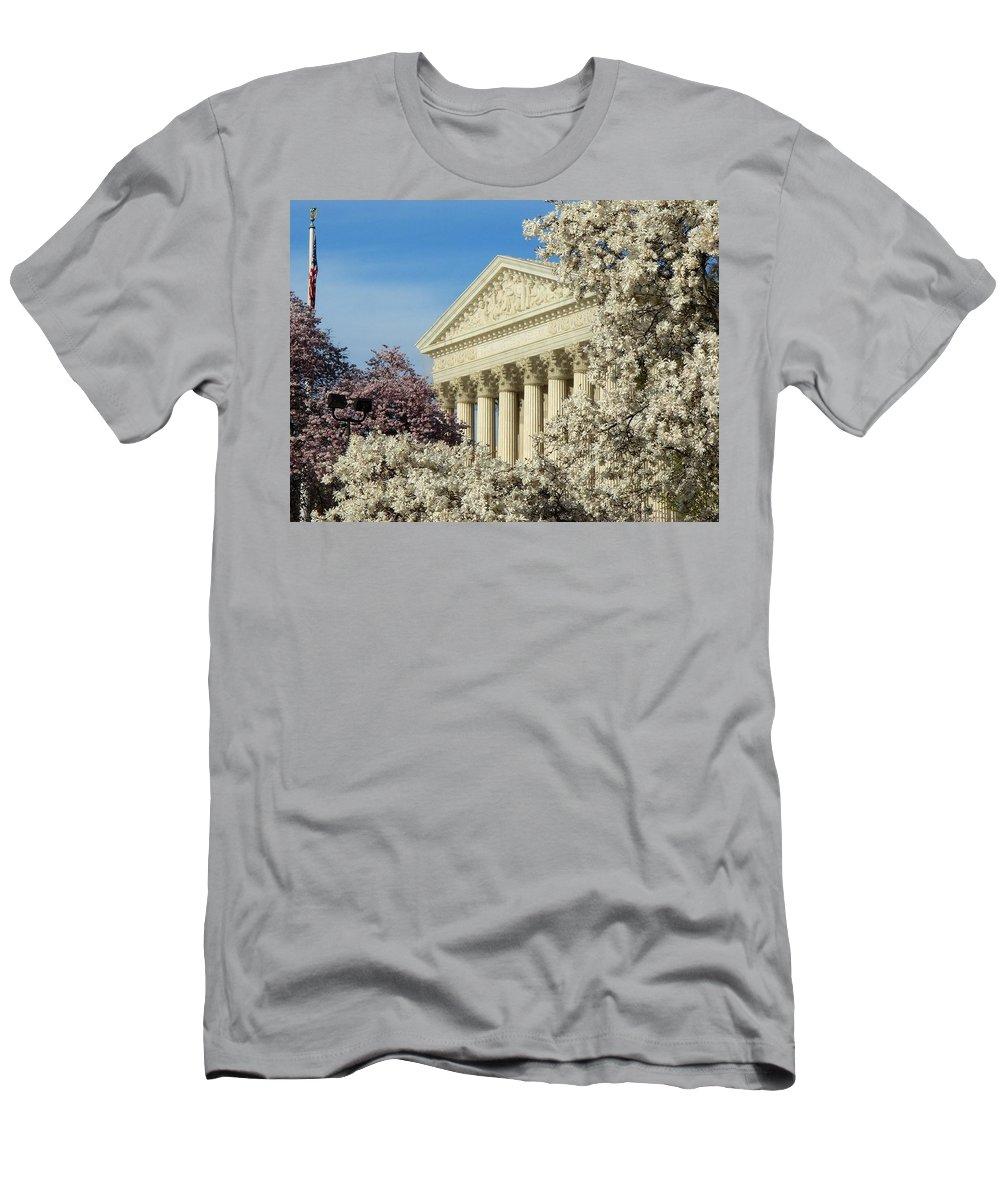Supreme Court Men's T-Shirt (Athletic Fit) featuring the photograph Washington Dc Cherry Blossom Supreme Court by Lois Ivancin Tavaf