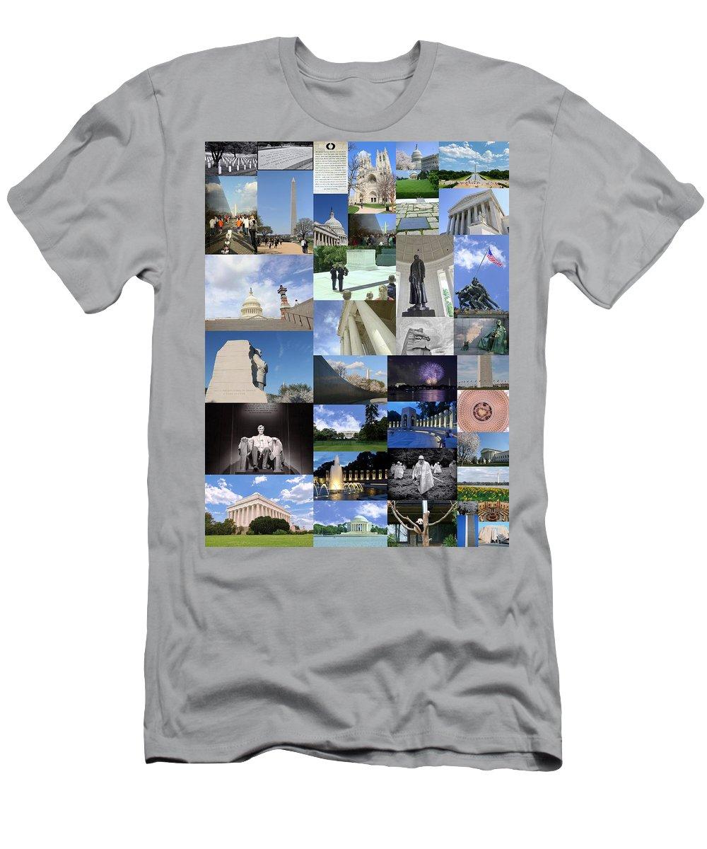 Capitol Building Men's T-Shirt (Athletic Fit) featuring the photograph Washington D. C. Collage 3 by Allen Beatty