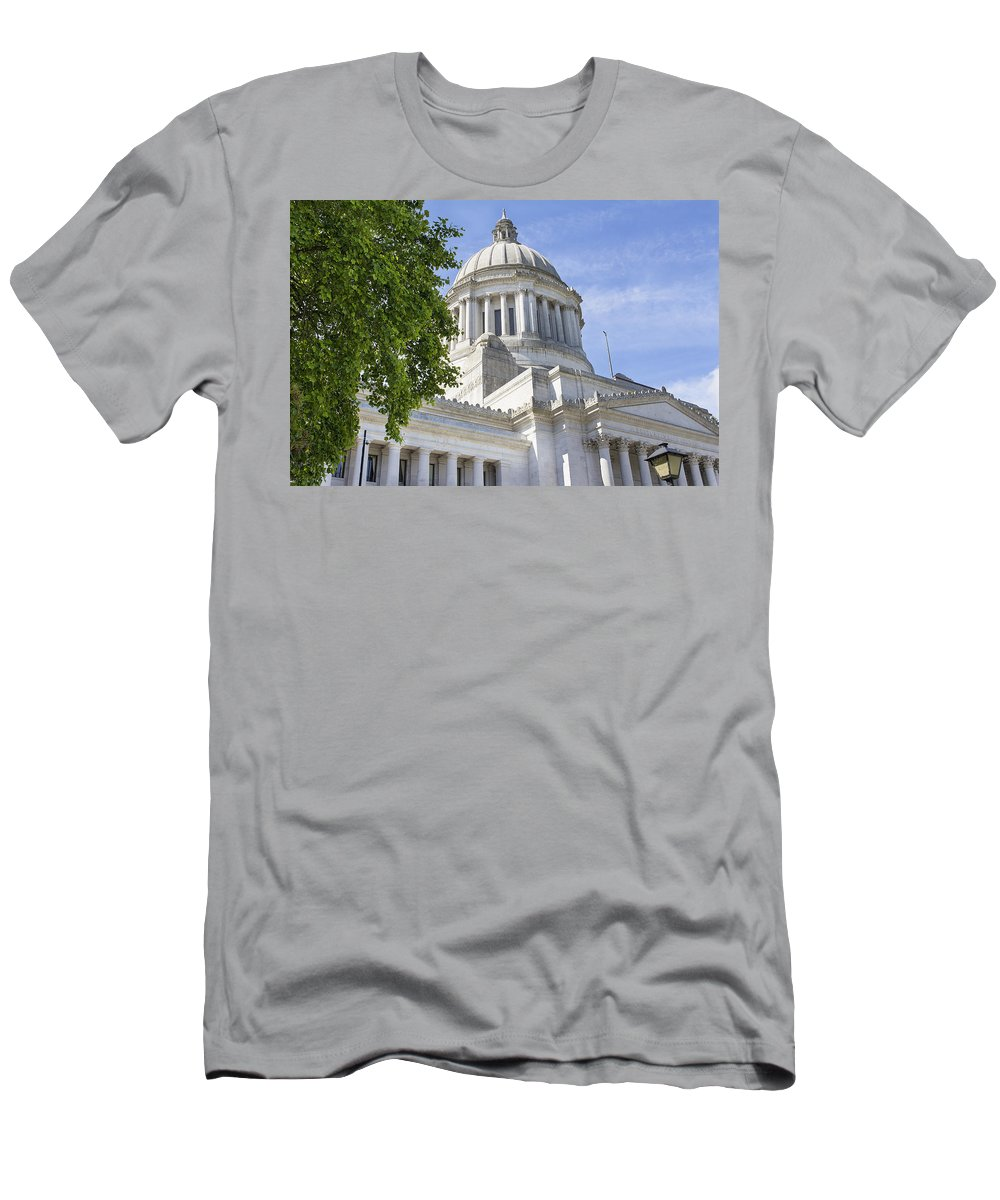 Olympia Men's T-Shirt (Athletic Fit) featuring the photograph Washington State Capitol Building by Jit Lim