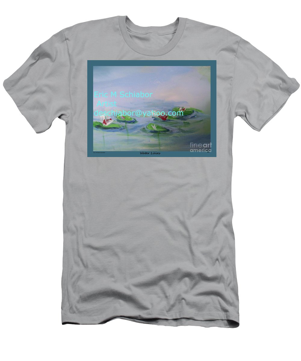 Water Lilies Men's T-Shirt (Athletic Fit) featuring the painting Water Lilies Print by Eric Schiabor