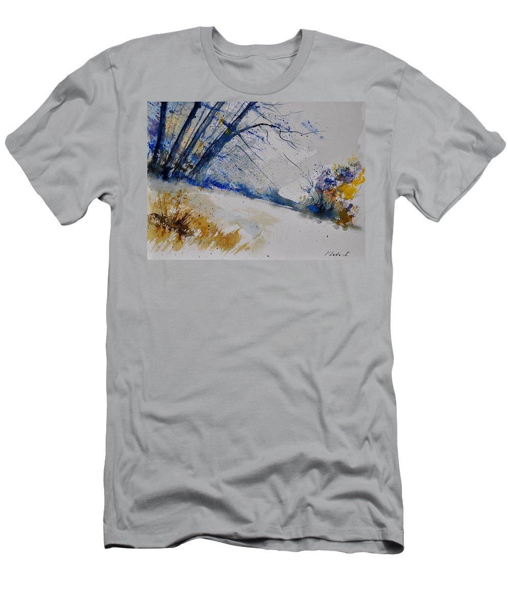 Landscape Men's T-Shirt (Athletic Fit) featuring the painting Watercolor 419082 by Pol Ledent