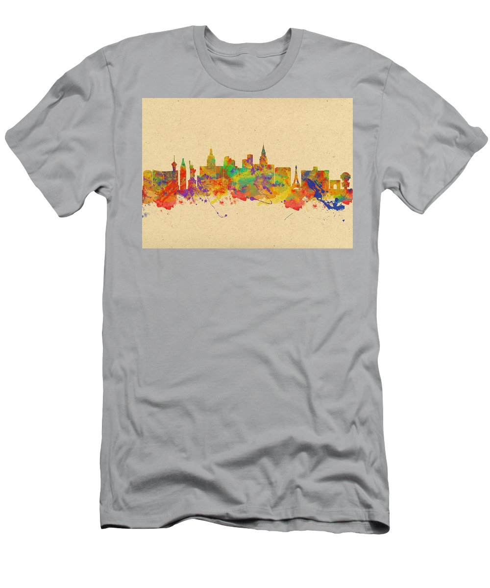 Las Vegas Men's T-Shirt (Athletic Fit) featuring the photograph Watercolor Skyline Of Las Vegas Nevada Usa by Chris Smith
