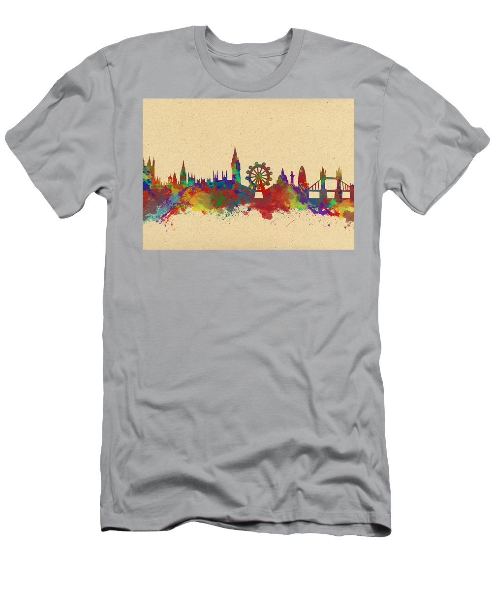 London Men's T-Shirt (Athletic Fit) featuring the photograph Watercolor Skyline Of London by Chris Smith