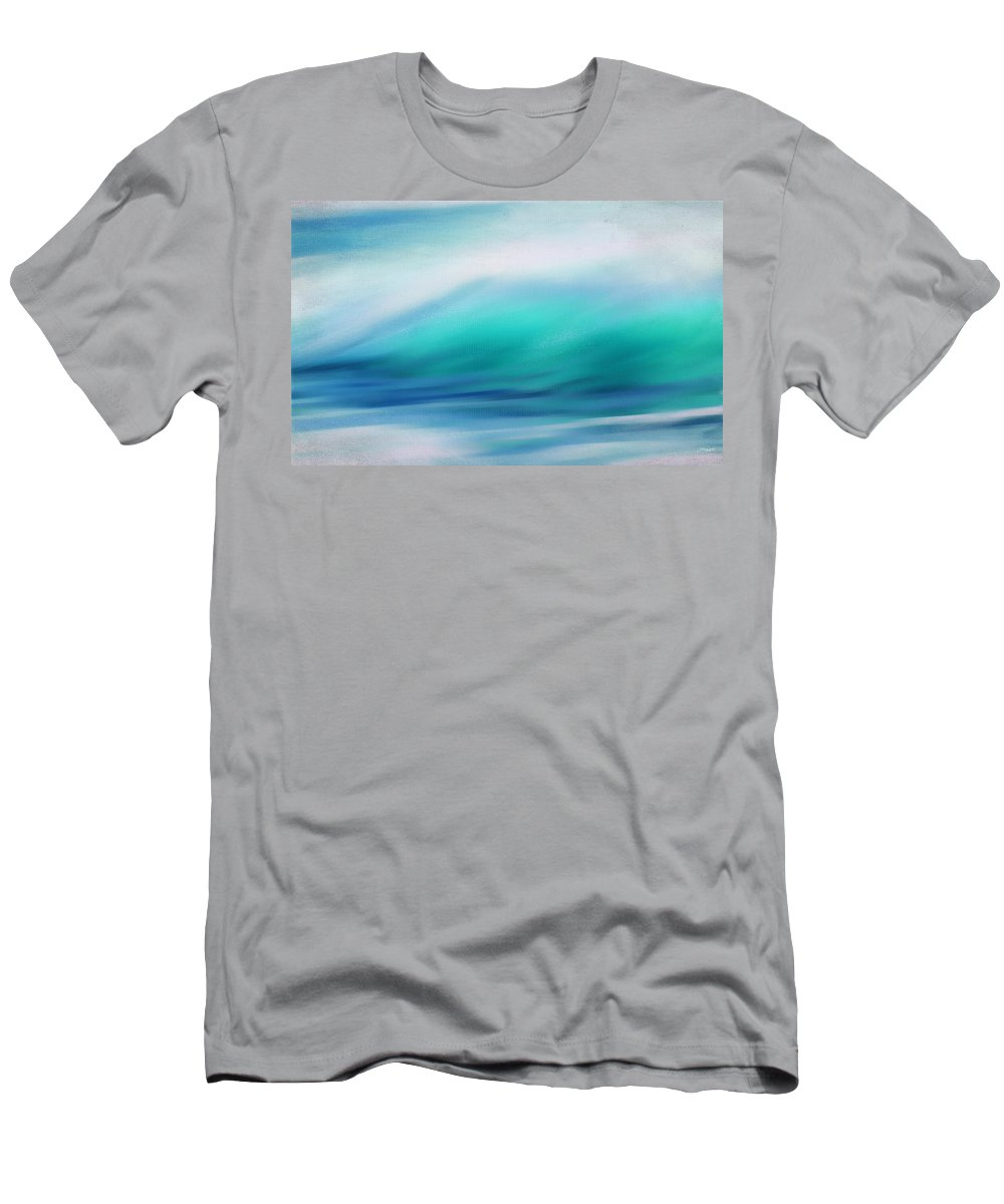 Seascapes Abstract Men's T-Shirt (Athletic Fit) featuring the digital art Waves by Lourry Legarde