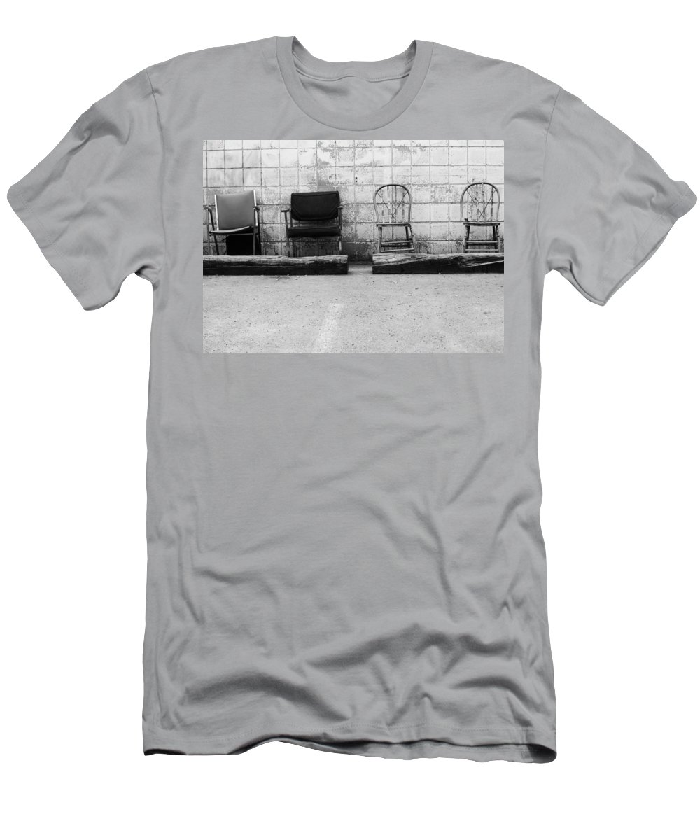Chairs Men's T-Shirt (Athletic Fit) featuring the photograph Weakness Will Show by The Artist Project