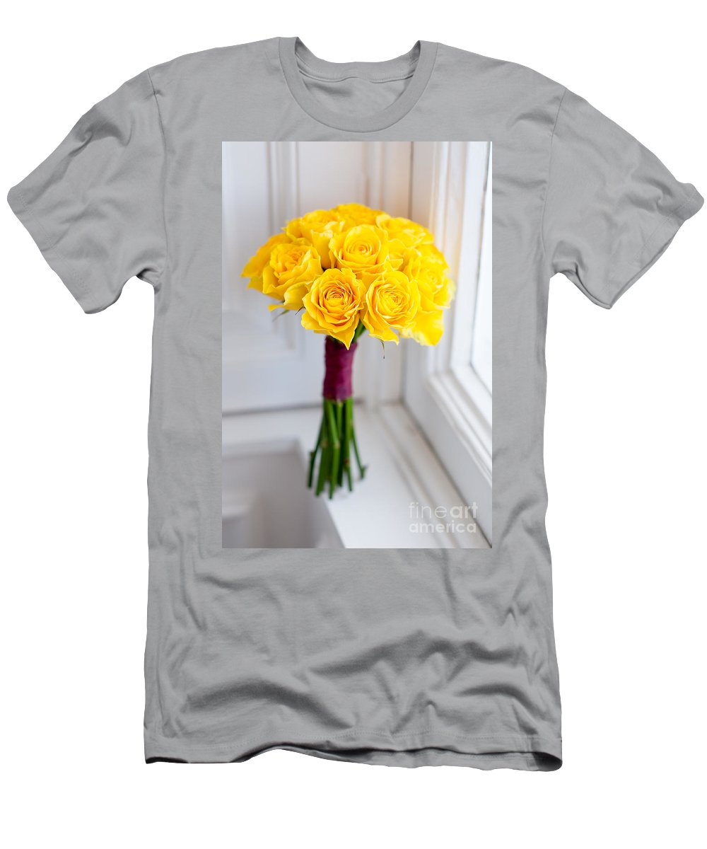 Wedding Bouquet Men's T-Shirt (Athletic Fit) featuring the photograph Wedding Bouquet Of Yellow Roses by Lee Avison