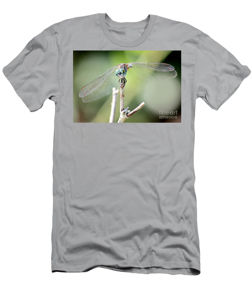 Macro Men's T-Shirt (Athletic Fit) featuring the photograph Welcome To My World Dragonfly by Carol Groenen