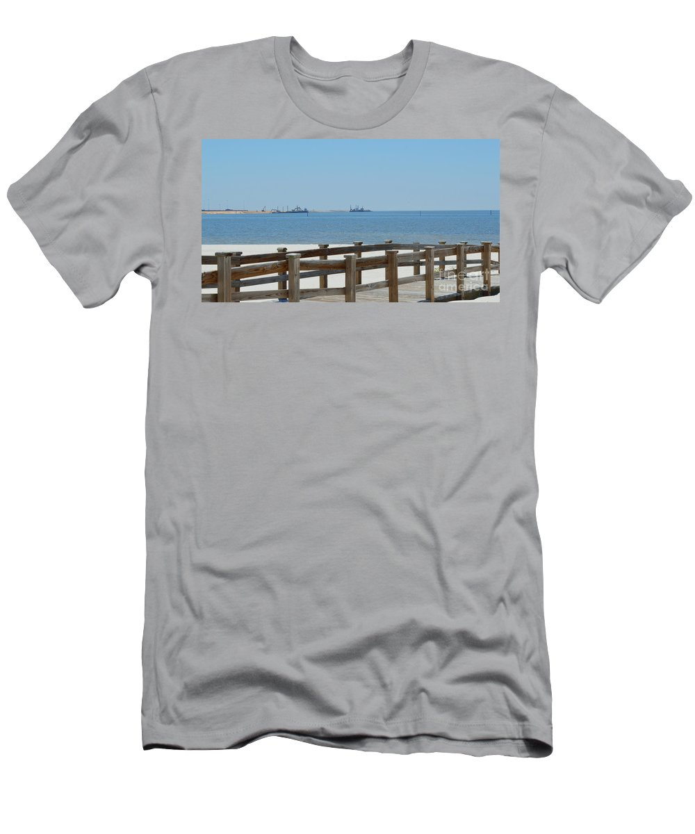 West Side Pier Men's T-Shirt (Athletic Fit) featuring the photograph West Side Pier 1 by Alys Caviness-Gober