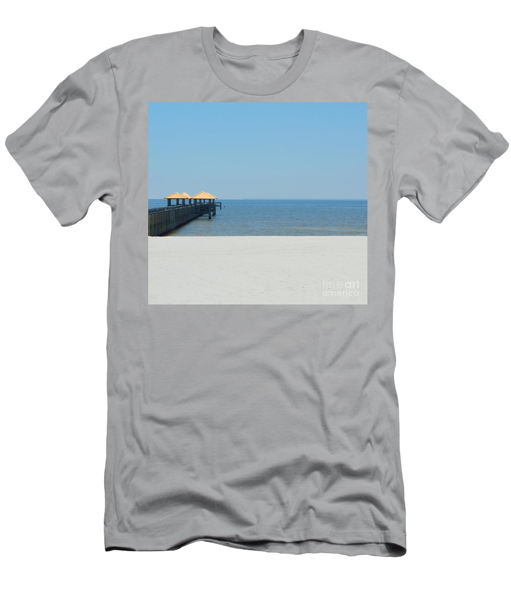 West Side Pier Men's T-Shirt (Athletic Fit) featuring the photograph West Side Pier 2 by Alys Caviness-Gober